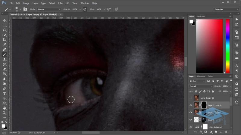 Photoshop (Фотошоп). Красим кожу в чёрный цвет. Часть №2. (Марина Эл)