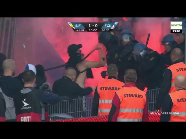Riots: Brondby IF - FC Copenhagen vs. police 06.08.2017