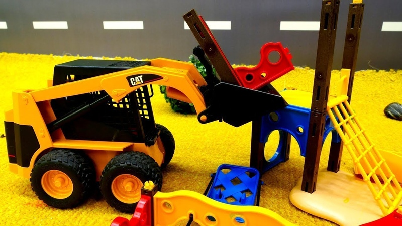 Tolle Spielzeugautos Die Baustellenfahrzeuge bauen einen Spielplatz