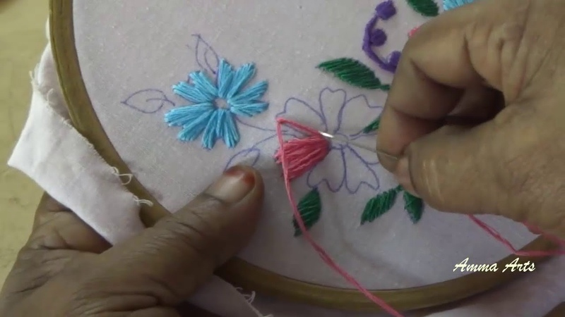 Hand Embroidery Satin Stitch by Amma Arts