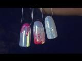 Маникюр жемчужная ракушка с втиркой Аврора. Дизайн ногтей гель лаком с радужной втиркой.