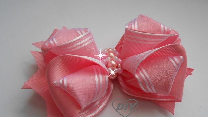 Бант из ленты органзы и репса МК/ DIY ribbon bow/PAP Laço de Fita de Gorgurão191