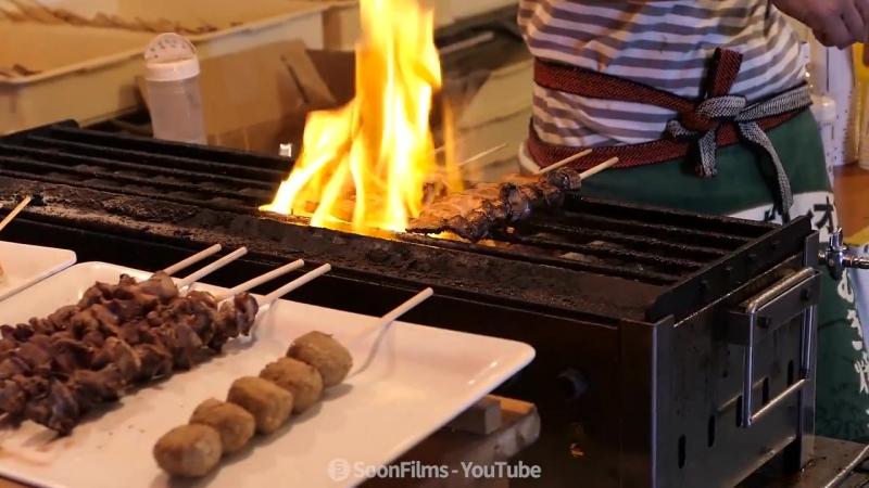 일본 포장마차 삼겹살 꼬치구이 _ Grilled pork with skewers _ 일본 길거리음식 _ Japan street food