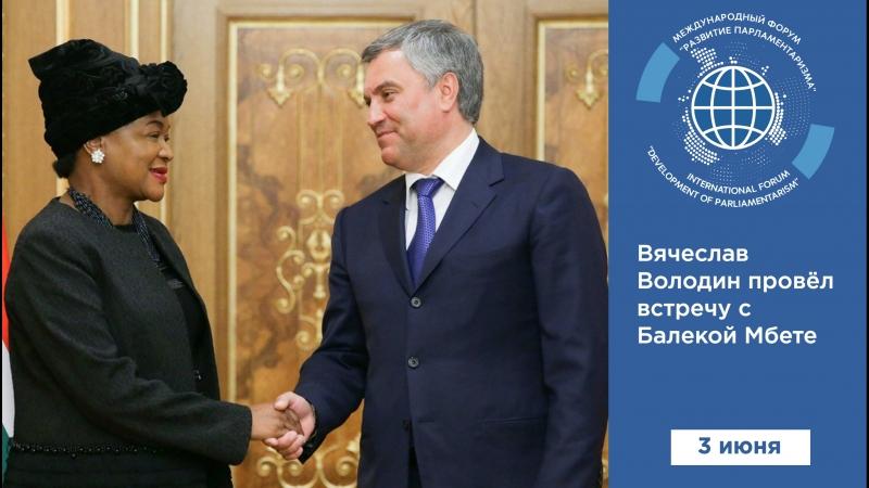 Вячеслав Володин провёл встречу с Балекой Мбете