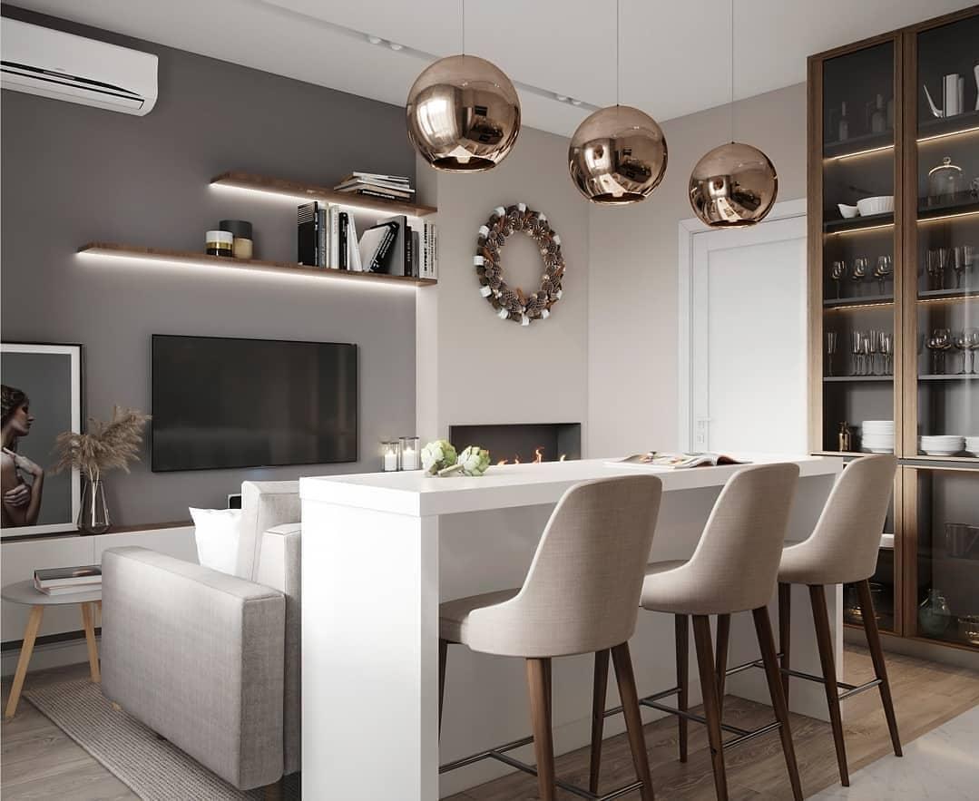Дизайн кухни-гостиной, площадь 15 кв.