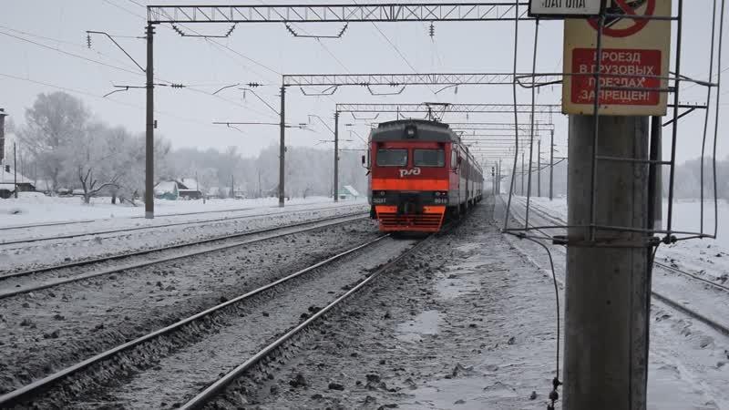 Электропоезд ЭД9Т-0019. Отправление от Цаплинокомпрессор.