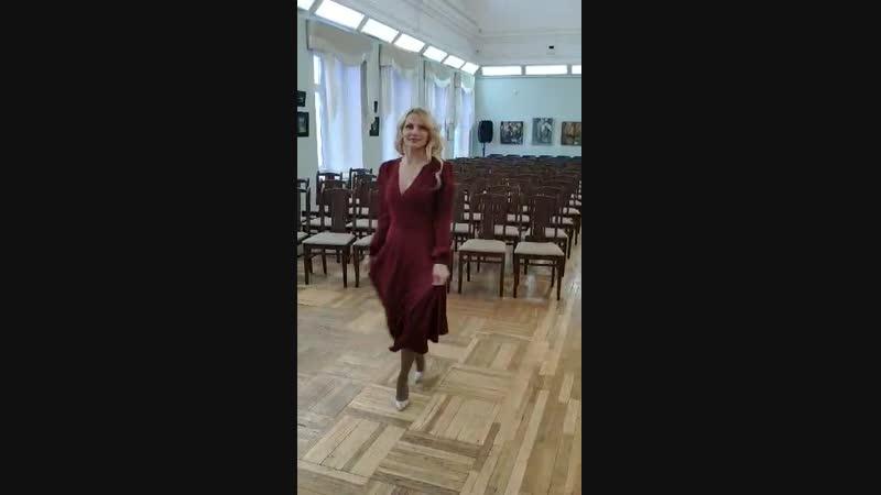 Платье-халат, цвет марсала)