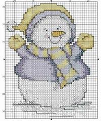 Поэтому хочу поделиться парой смешных схем для вышивки снеговиков.