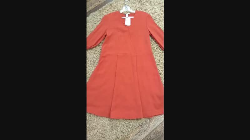 Новое свободное платье терракотового🌹 цвета с манжетами на рукавах и запахом на груди, размер 32 европейский ( идёт на xs-s )