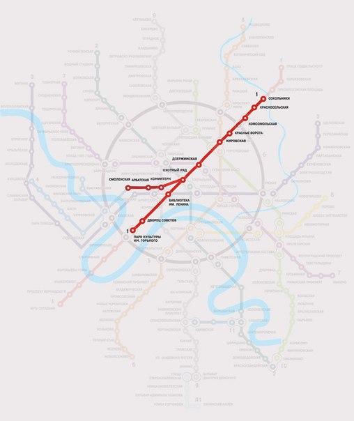 Первая схема метро, наложенная