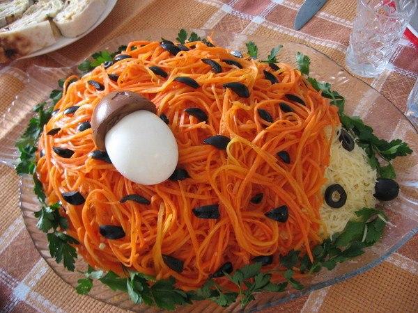 Ежик с корейской морковью Ингредиенты: - грибы 200 гр