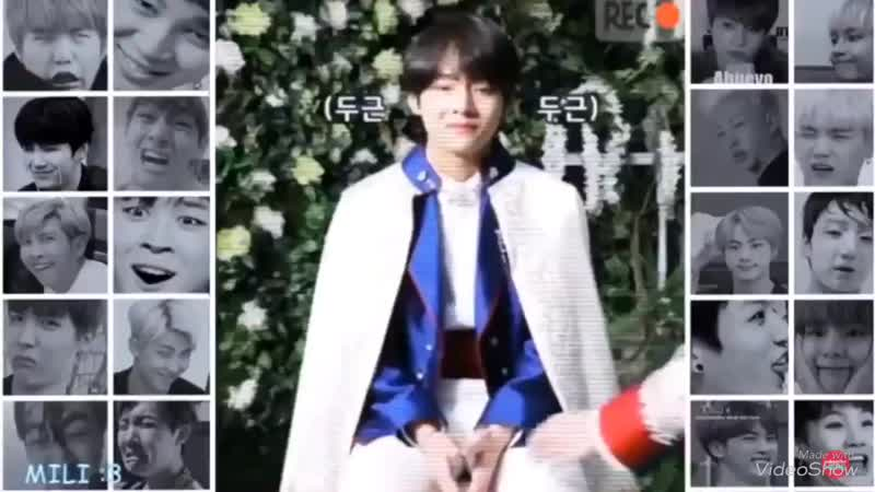 Taehung looks nervous even before jin coming to him and his face is blushing so hard , his dizzy from that kiss in the hand Jin