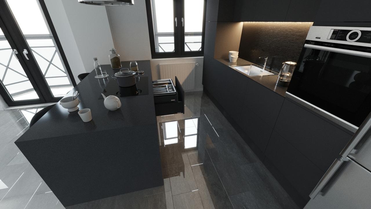 Студия для холостого парня 25 лет в минималистичном стиле с роскошным видом на город с 19 этажа.