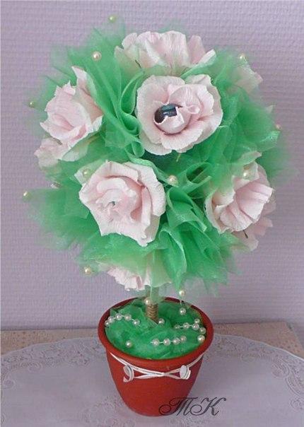 Цвета из бумаги и конфет своими руками