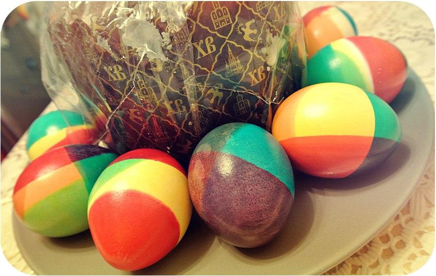 Огромное спасибо! Это было самое увлекающее окрашивание яиц за все пасхи!Кривовато но зато какие цвета! =))) Очень разбавили потерявщуюся