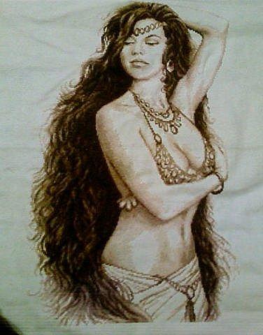 Работы.  Ярмарка Мастеров - ручная работа Картина Шакира, вышивка кре.