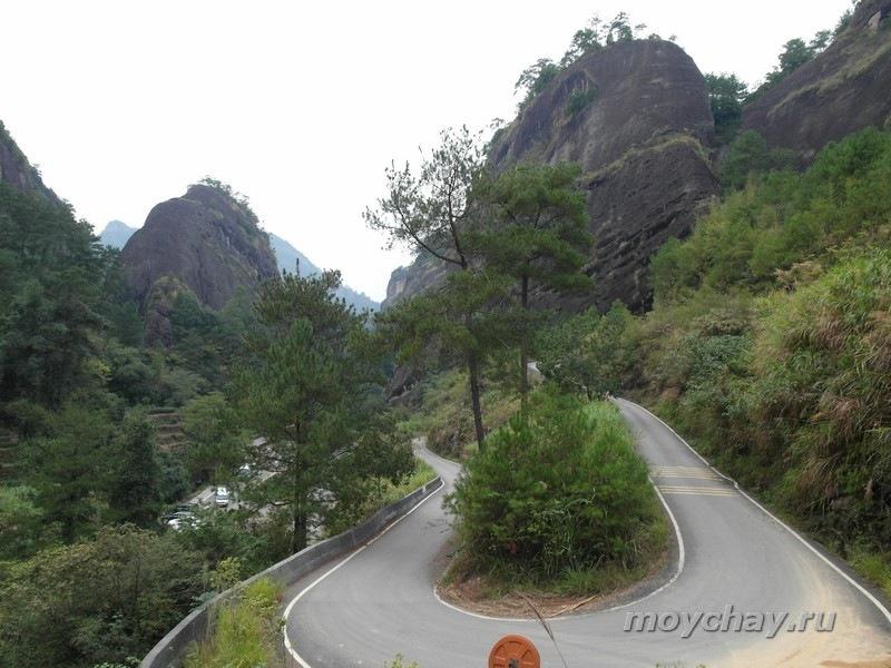 Вид на ущелье, где растут кусты Да Хун Пао