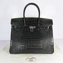 Реплика Hermes Birkin сумки 035 крокодиловый черный (серебро)