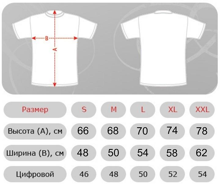 Размеры мужских футболок и толстовок.