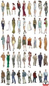 Мода и люди, клипарт (80 шт) .
