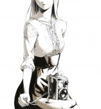 """Схема вышивки  """"девушка и фотоаппарат """" ."""