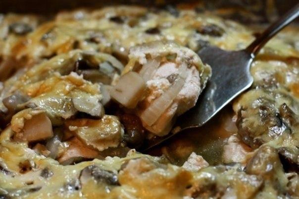 Куриная грудка запеченная с грибами