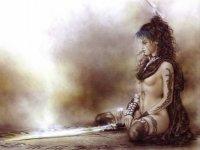 """Вышивка крестом.  Схемы автора  """"alenka """".  190x143 крестов * 49 цветов * Теги: амазонка, девушка, воин. alenka."""