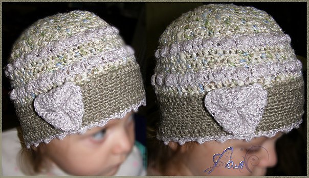 как связать повязку на голову крючком ребенку.