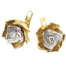 Серьги, белое и желтое золото 585 пробы, бриллианты.  Артикул: S-14034