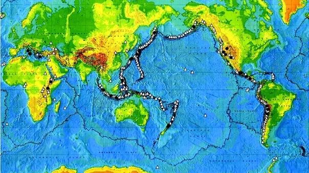 Карта мощных исторических извержений