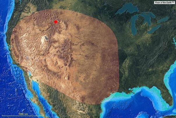 Площадь, засыпанная пеплом после последнего извержения Йеллоустоуна 640000 лет назад
