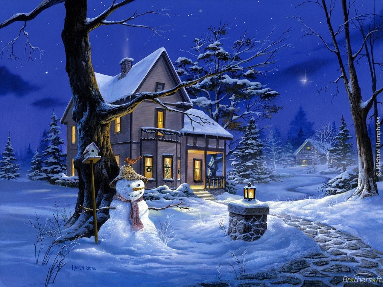 Зима мерцающие открытки