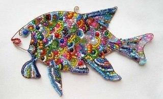 Рыба - украшение на стену.  Трудоемкость - 2-3 дня или в зависимости от размера изделия и прилежания мастера.