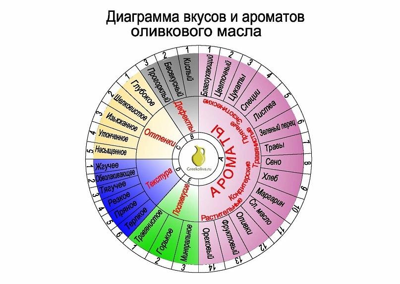 Диаграмма дегустации оливкового масла