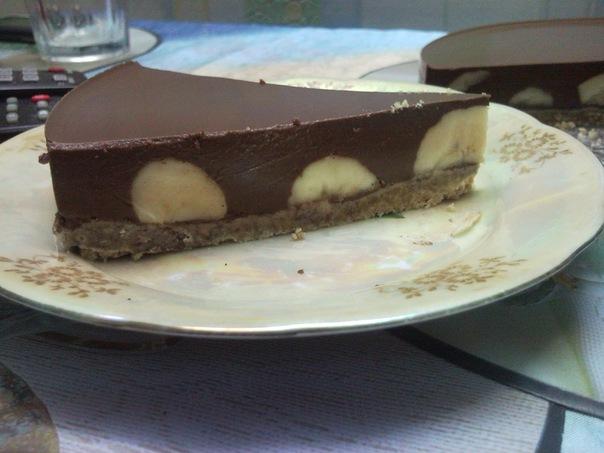 шоколадно банановый торт без выпечки рецепт с фото