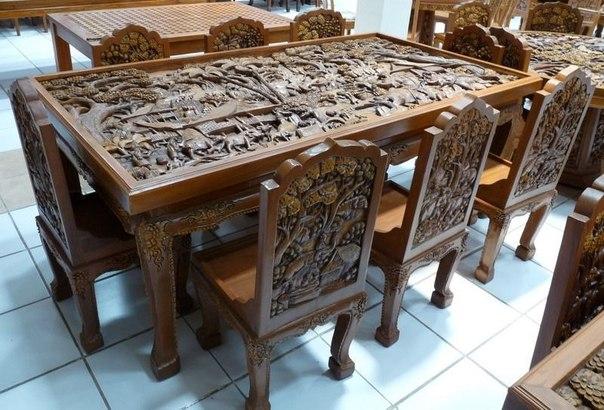 Резные столы из дерева своими руками фото