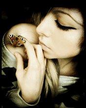 """Оригинал - Схема вышивки  """"Девушка с бабочкой """" - Схемы вышивки - smelaya - Авторы - Портал  """"Вышивка крестом """" ."""