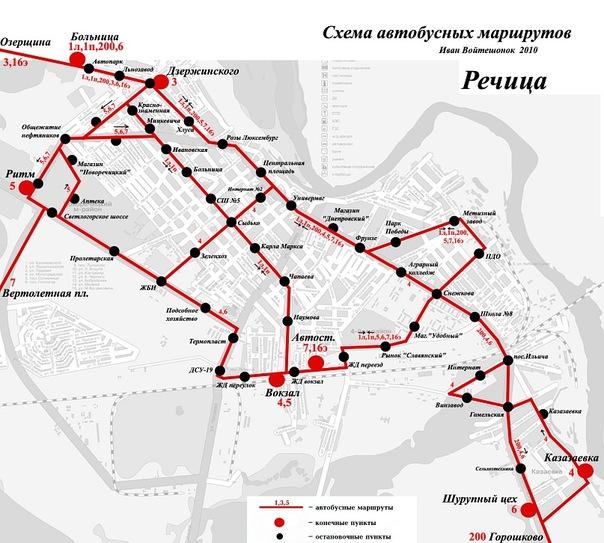 Схема движения автобусов в г.