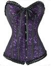 Корсет вечерний атласный фиолетово черный ажур.