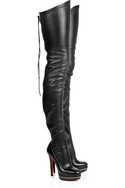 Высокие сапоги-чулки Christian Louboutin.