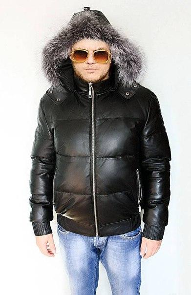 Мужская коллекция Зима.  Кожаные пуховики.