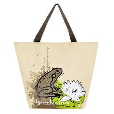 Летняя женская сумка цвета хаки с красивым рисунком.