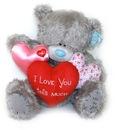 Мишка Тедди Me to you 60 см - с гирляндой сердечек I LOVE YOU THIS MUCH.