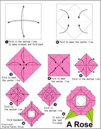 Origami Rose Diagram Instructions.