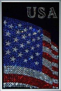 Распяьте Иисуса Христа и американский флаг - фото тату.