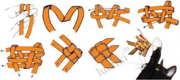 Поделки с детьми 1,5-2 лет, плетение атласными лентами и схема вязания.