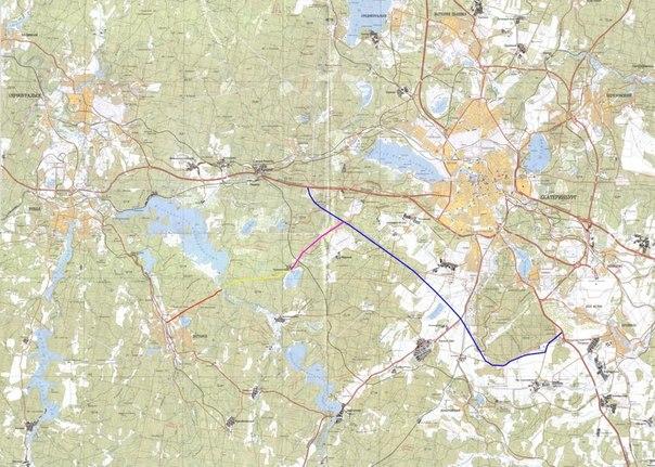 Схема автодороги Екатеринбург-