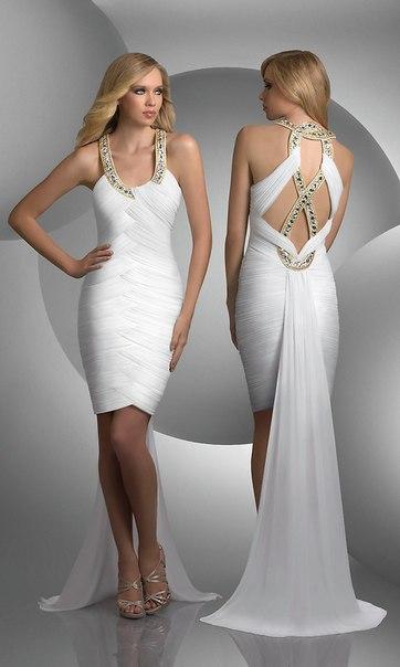 Короткие выпускные платья 2012 со шлейфом.