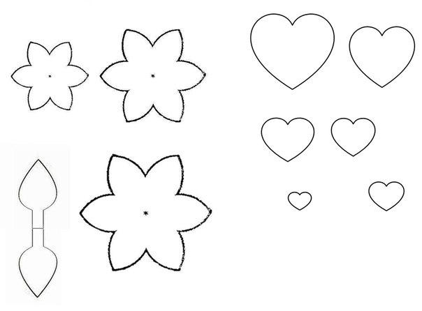 Покупаете фетр (20 рублей лист А4), вырезаете по шаблонам цветы, сердечки, бабочки и тп. .