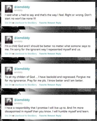 Diddy извиняется за своё поведение